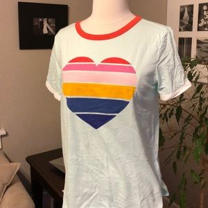 Old Navy Girls 14 S XS Heart ❤️ 🌈 SS Ringer Tee